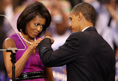 Michelle giving her boo a pound