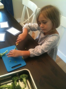 Cutting up broccoli